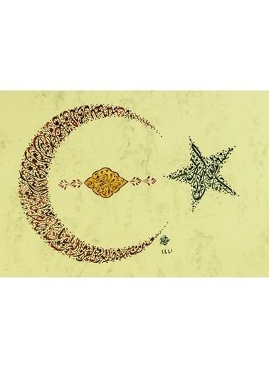 BEDESTEN PAZAR Hüsn-i Hat 21x30 cm Çerçevesiz Ay Yıldız Formunda Besmele, Nazar Ayeti Renkli